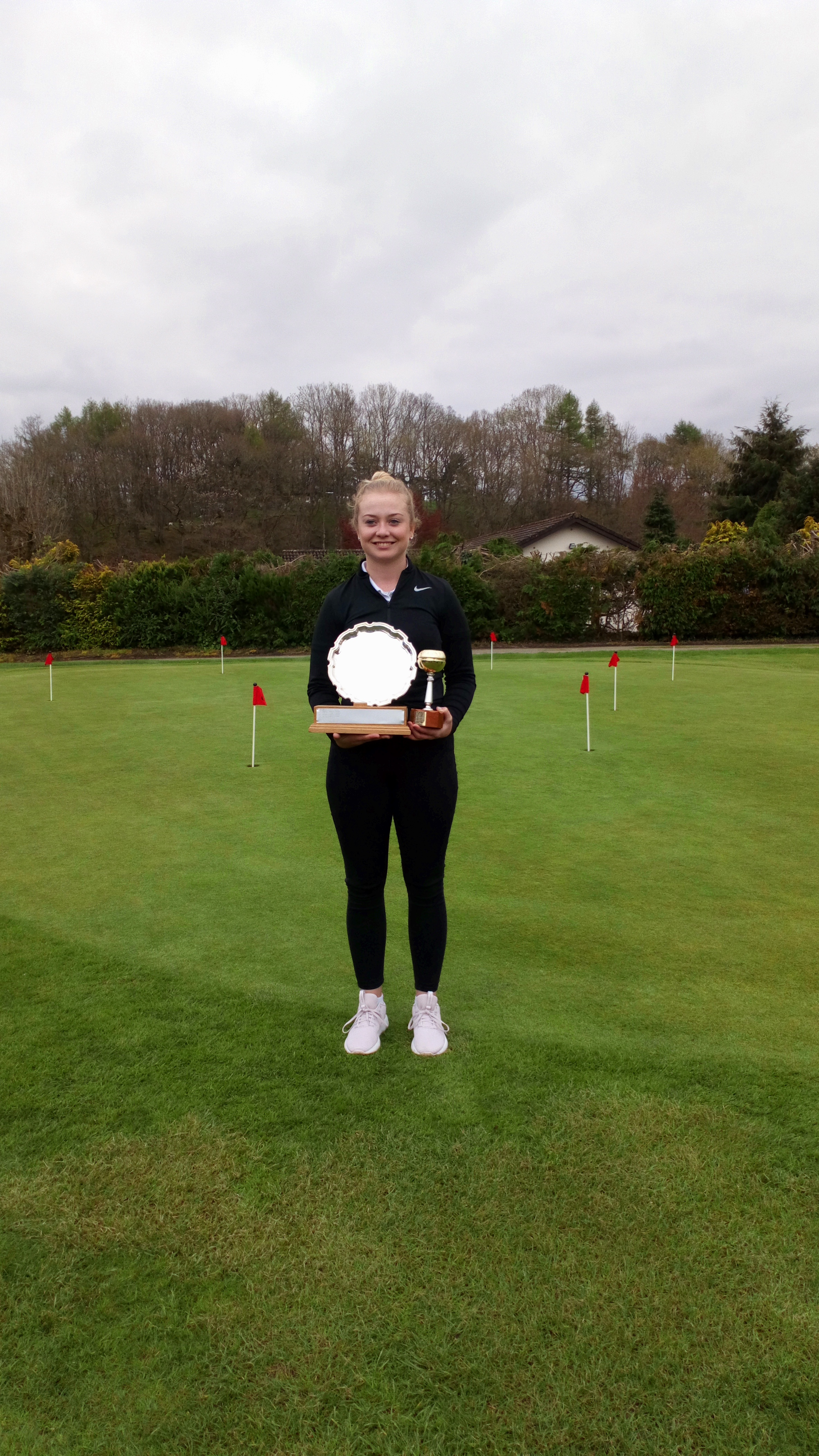 2018 County Champion - Harriet Evans, Aberdovey with the Pat Morgan Championship Salver and Sue Sherman Gross Trophy