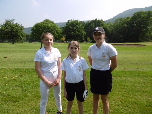 Three of the girls representing us at a friendly match with D & F and C & A yesterday on Tuesday 29th May 2018. Rachel from Aberdovey (on the left) had 43 points and came 4th! CSS smashed! Ella from Aberystwyth in the middle and Grace from Builth on the right.