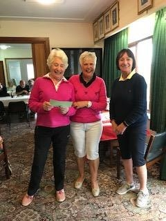 Jane Webster of Welshpool (L), Margaret Bowen, MWCGA Vice-Captain and Gail Beaurain, St. Idloes Club Chairman