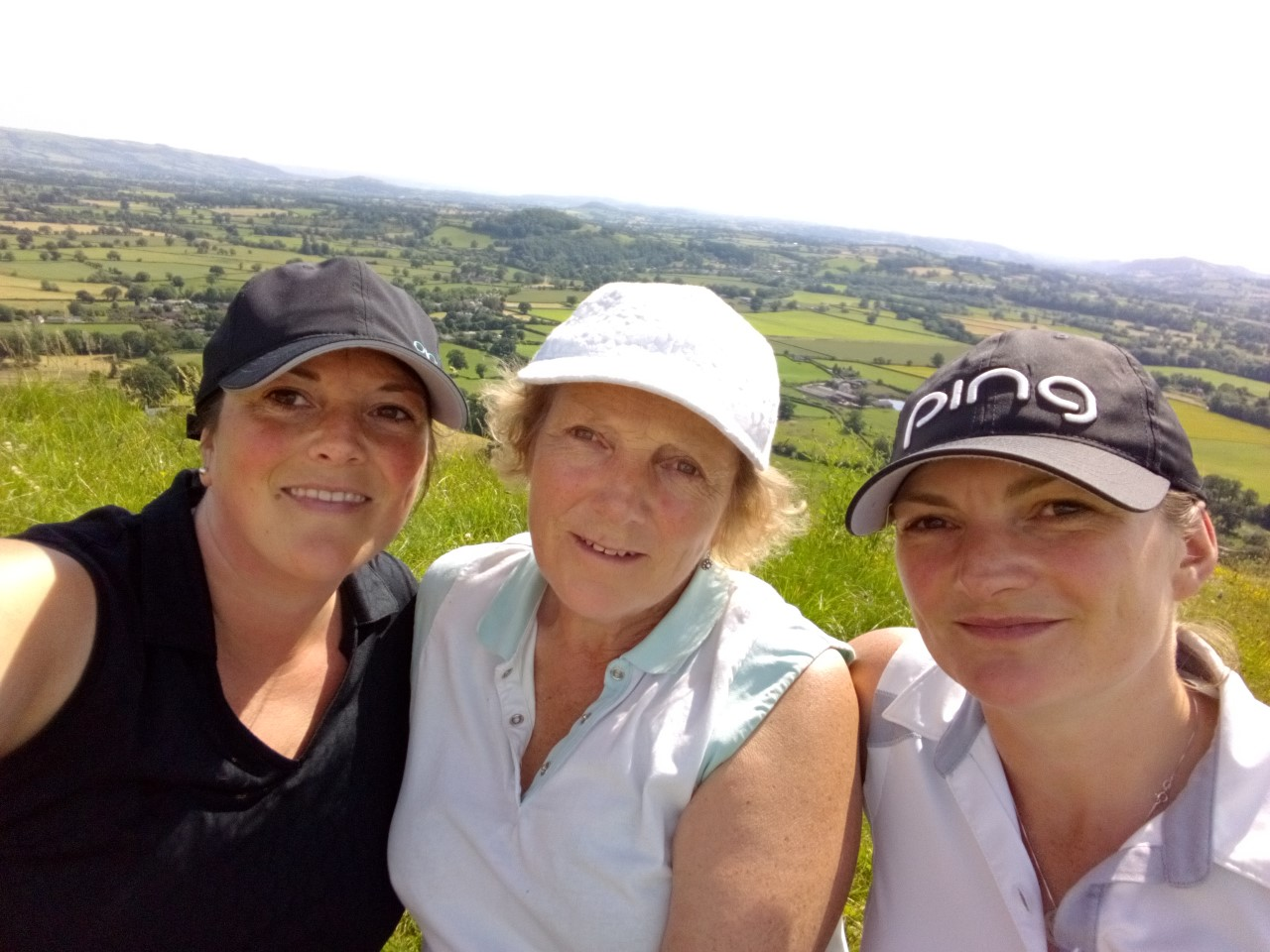 Lisa Hughes, Chris Hughes and Sherrie Edwards loving the sunshine, golf and the course.