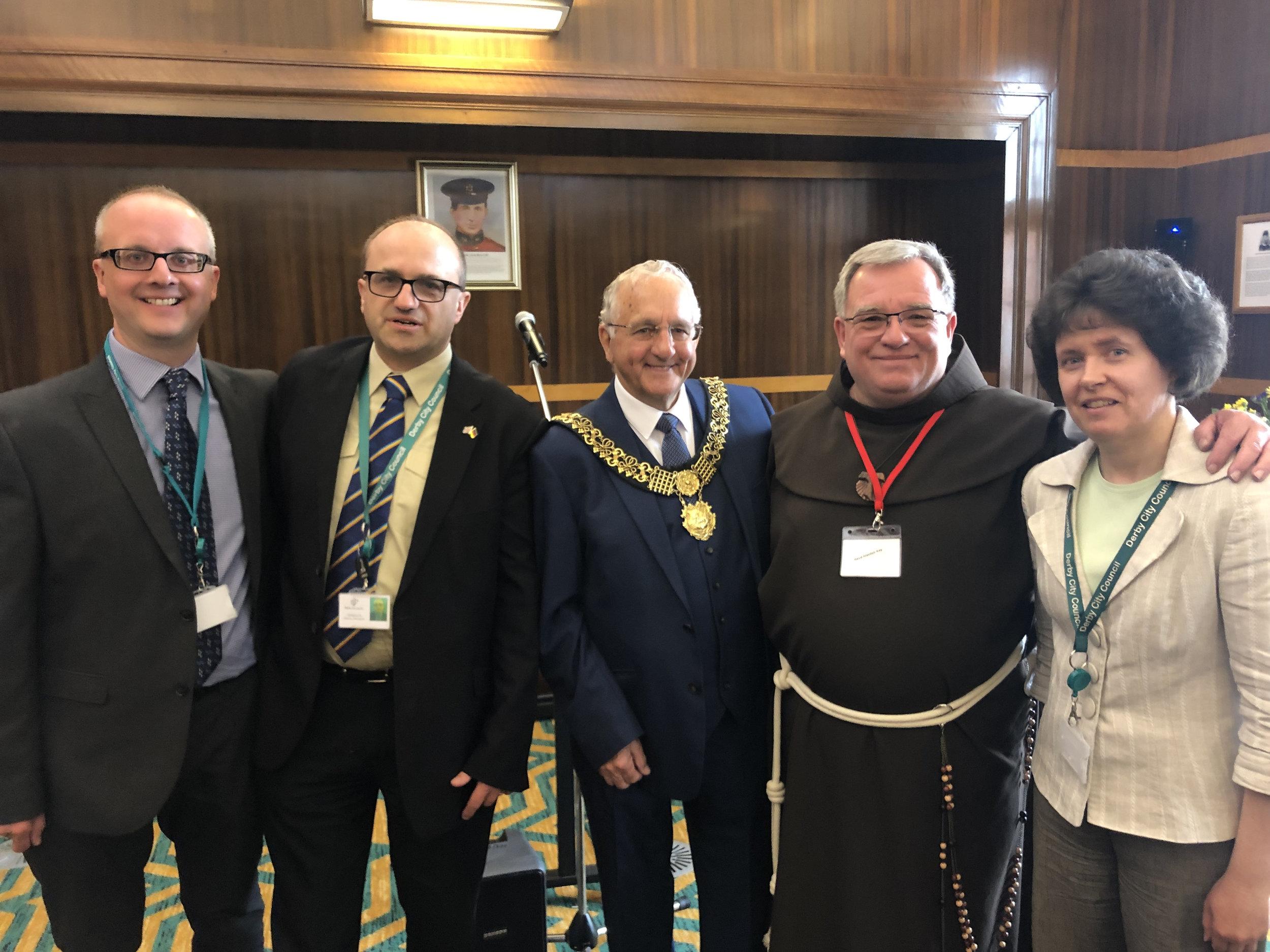 Graham Pyman, Cllr Stephen Willoughby, Mayor of Derby Cllr Frank Harwood, Rev'd Alasdair Kay and Cllr Ruth Skelton (L-R)