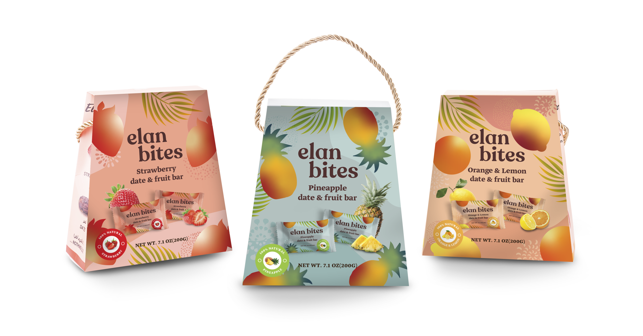 Bite-sized date & fruit bar packs - Each paper pouch contains 20 date & fruit bars in individually packed 10g wrappers, to ensure freshness and good taste.
