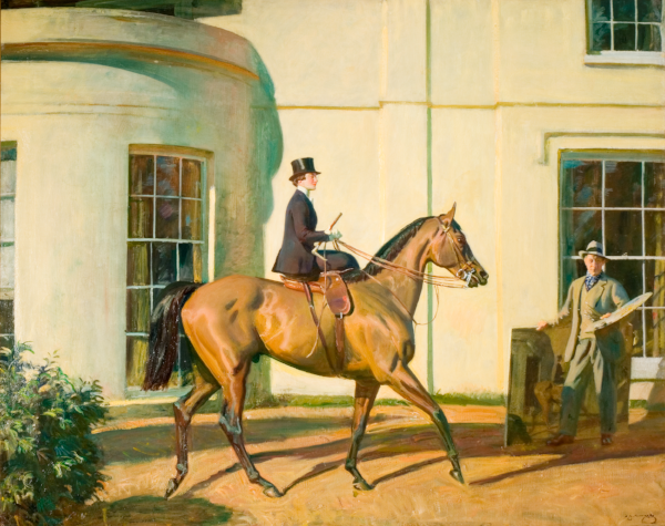 My Wife, My Horse and Myself. © The Estate of Sir Alfred Munnings' The Artist and his Wife Violet in from of 'the house of my dreams', Castle House, Dedham, Essex
