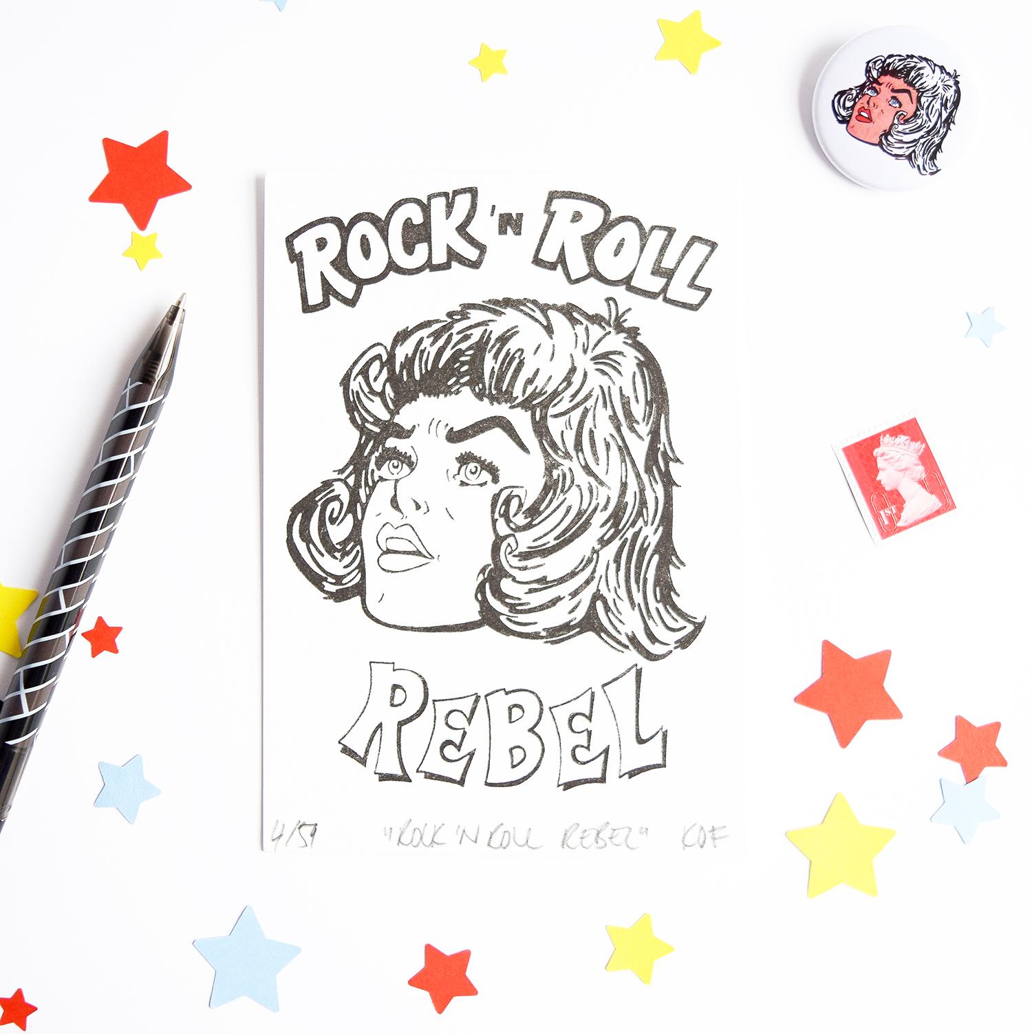Fitzygogo! Rock 'n Roll Rebel A6 Size Risograph Print