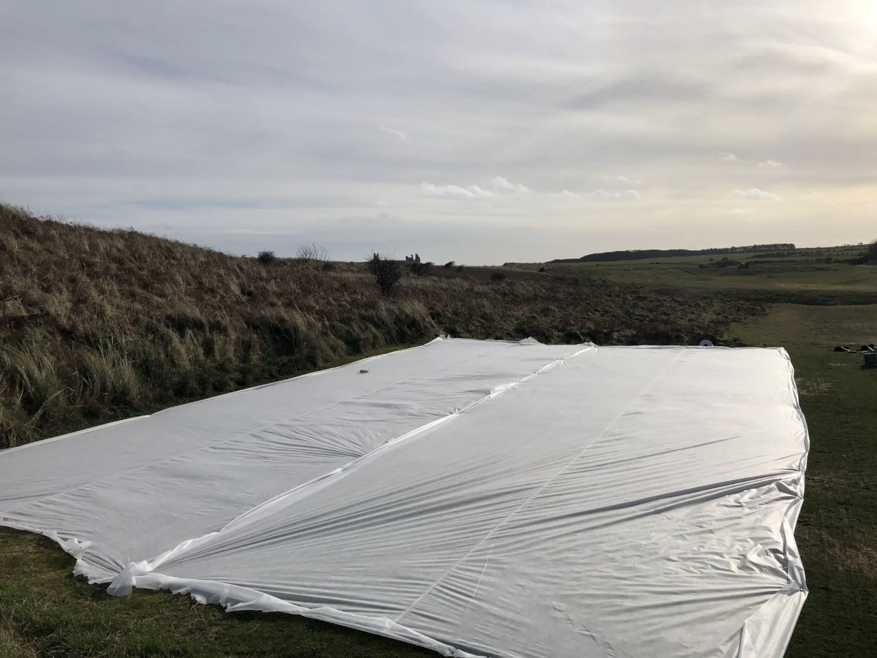 Grow mats over the 8th Tee - your going to see a few of these out on the golf course to help try and promote some new grow on heavily worn areas.
