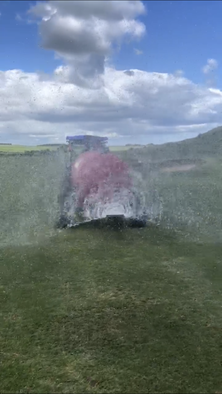 Its thirsty work all this, this is our new innovative way to water fairways..