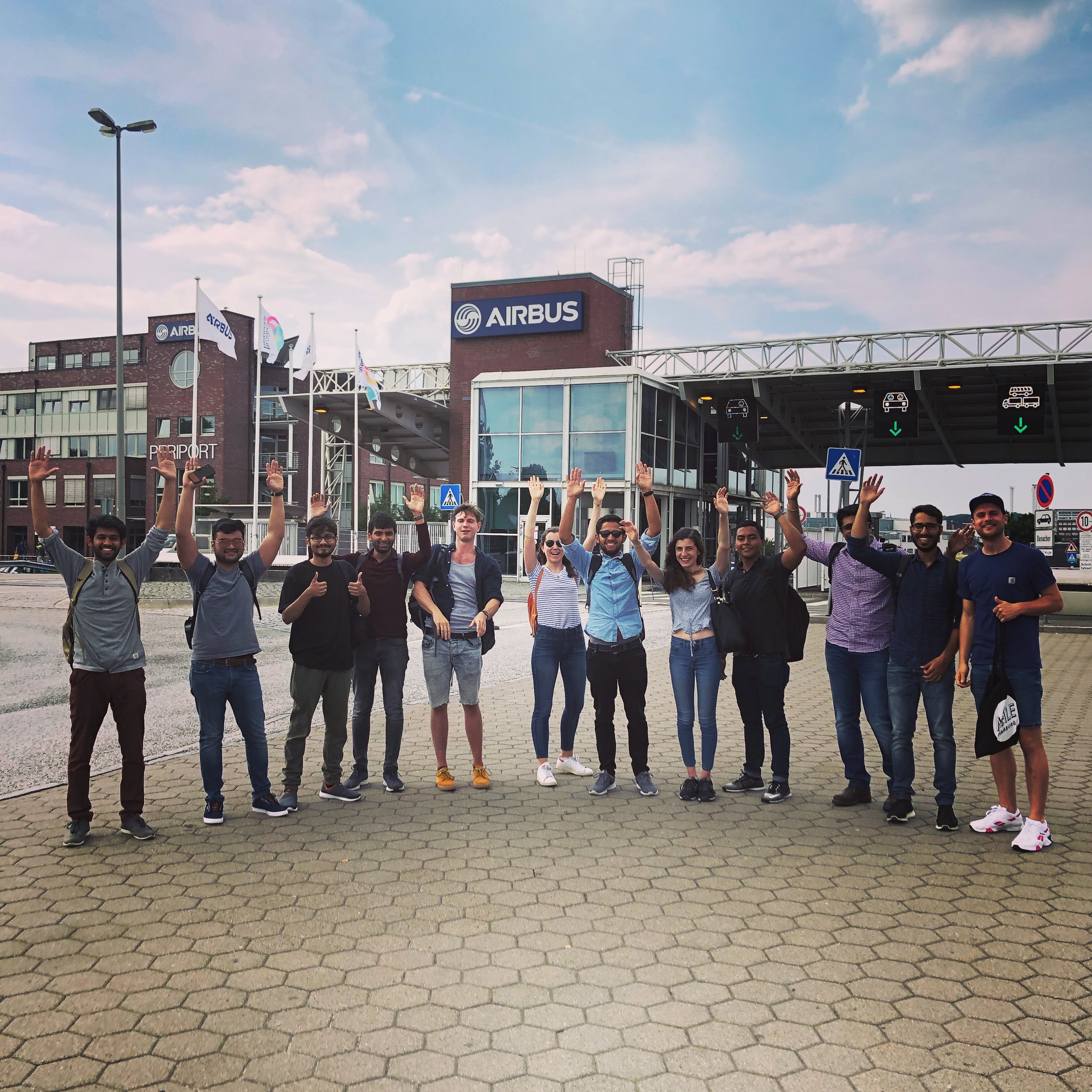 GTIME cohort in front of the Airbus Factory in Hamburg.