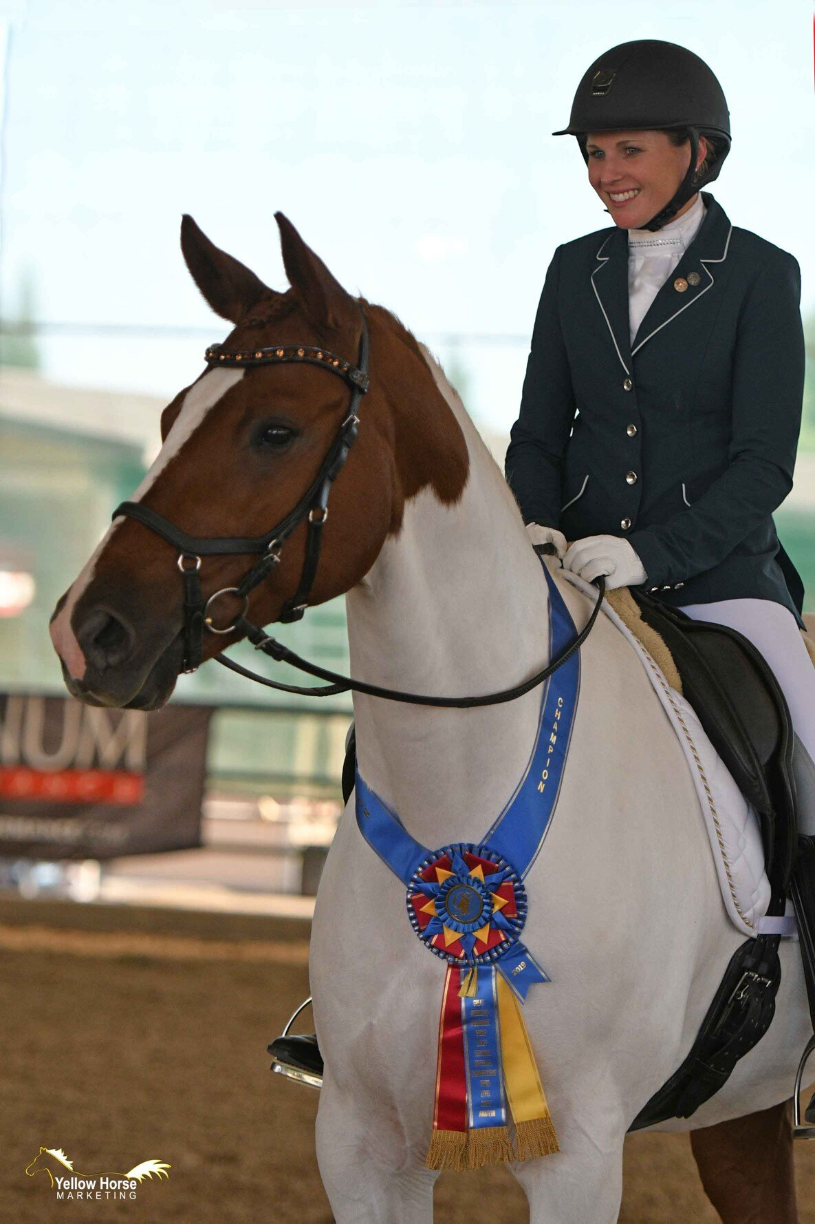 Kelly Prayter and her American Warmblood gelding Hemingway are all smiles after winning the Great American Insurance Group/USDF Region 7 Adult Amateur Third Level Championship at the 2019 CDS Championship Show. Photo: Jennifer M. Keeler/Yellow Horse Marketing.