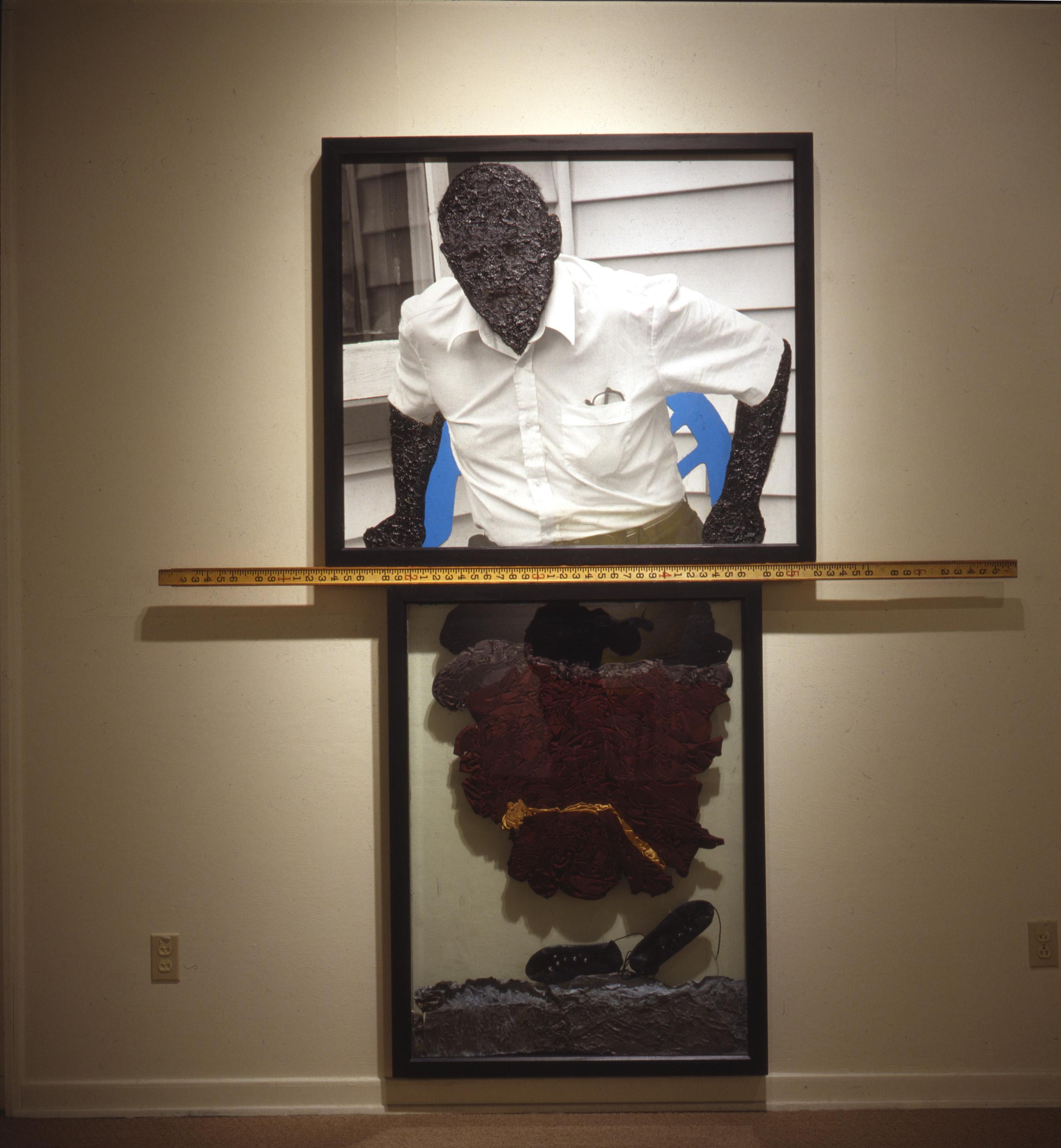 """Waking Leviathan , 2002, 60"""" x 74"""" Mixed Media, Thermal Pane Glass, Mural Photograph, lead, tar, satin"""