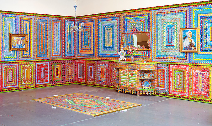 Ghost of a Dream,  Dream Home , 2009, Discarded Lottery Tickets, Wood, and Mixed Media, Dimensions variable, 8 panels plus furnishings and paintings