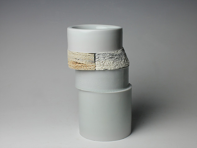 Jongjin Park,  Definitely Ceramics II , 2014 Porcelain, stoneware with newspaper, celadon glaze