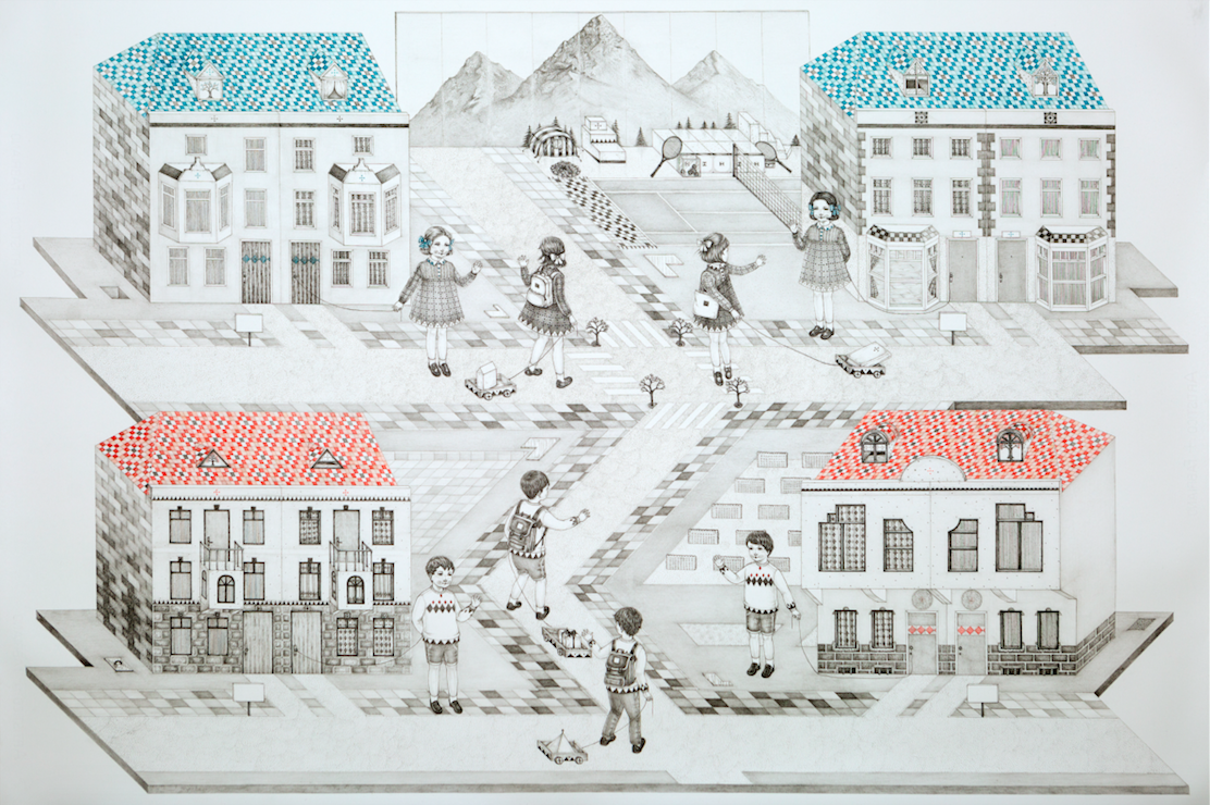 Yusa Yalçintas,  Moving Day,  2019, Pencil and Coloured Pencil on Paper