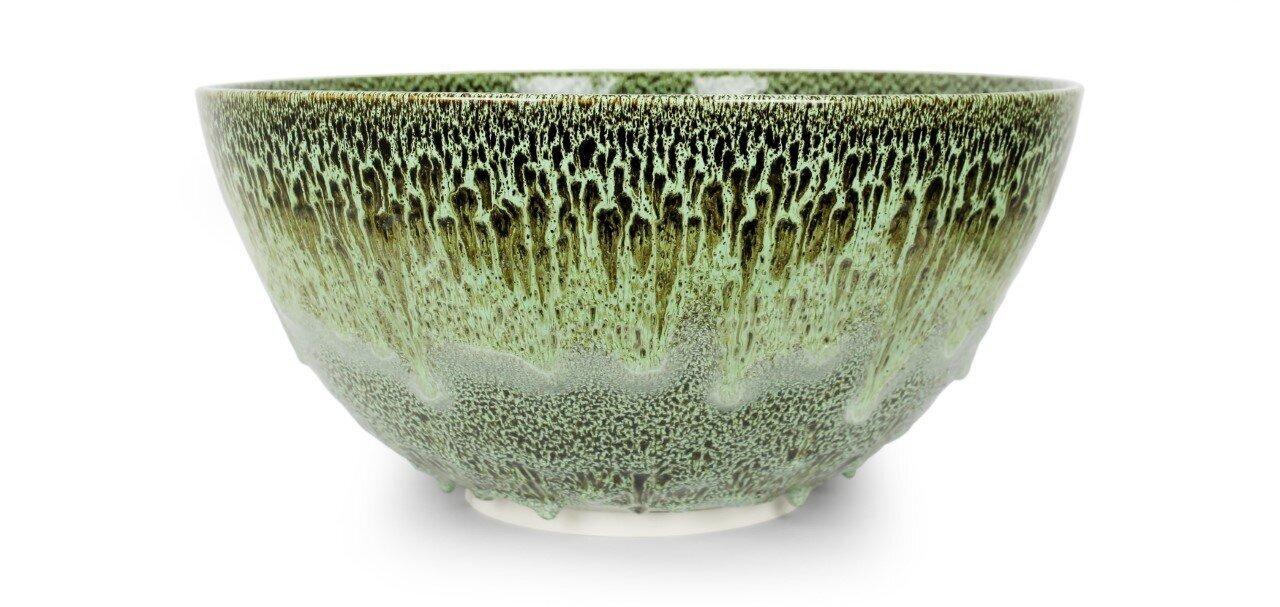 Albert Montserrat,  Moss Agate Bowl , 2019, Oil Spot and Glazed Thrown Porcelain