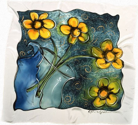 Painted with Jacquard Silk Colors Dyes and Neopaque.