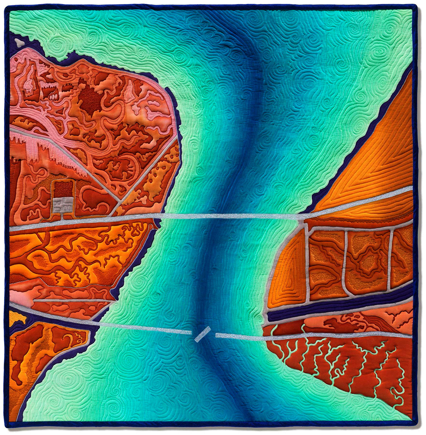 """Dumbarton Crossing""<br>stitched painting on silk<br>30""x30"""