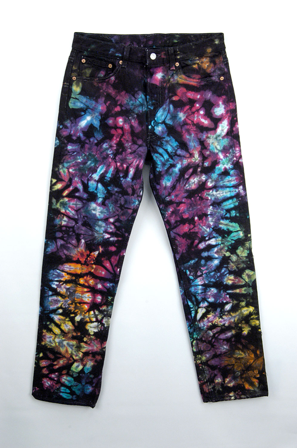 Jeans tie dyed with Procion MX