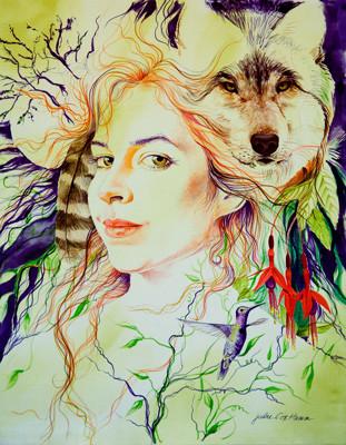 """Hannah & Wolf"" by Julie Cox-Hamm @juliartsilks"