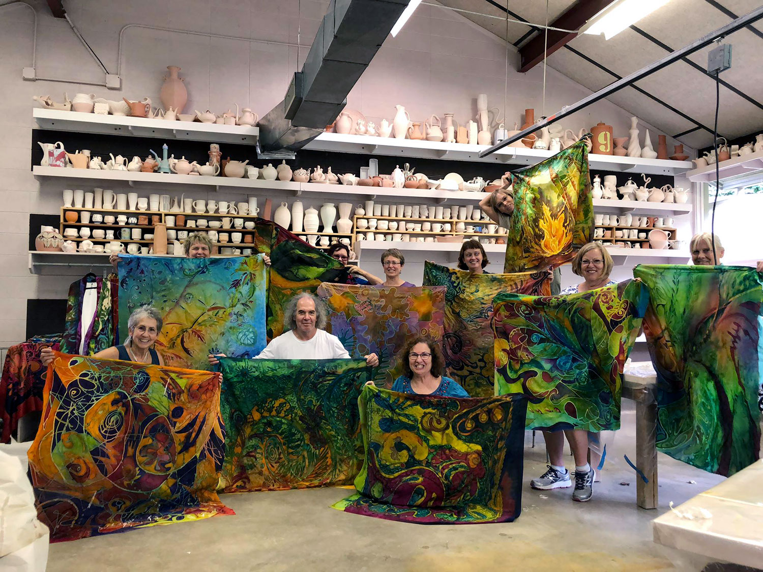 Silk painting class by David Higgins