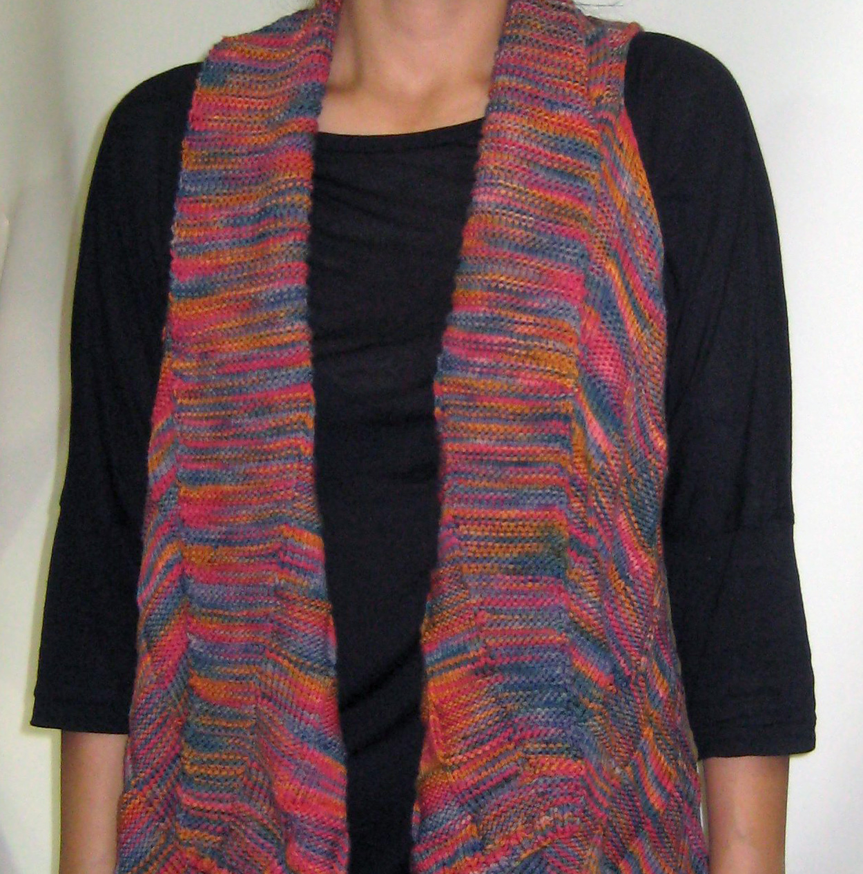 Dyed knit sweater vest by Barbara Foley