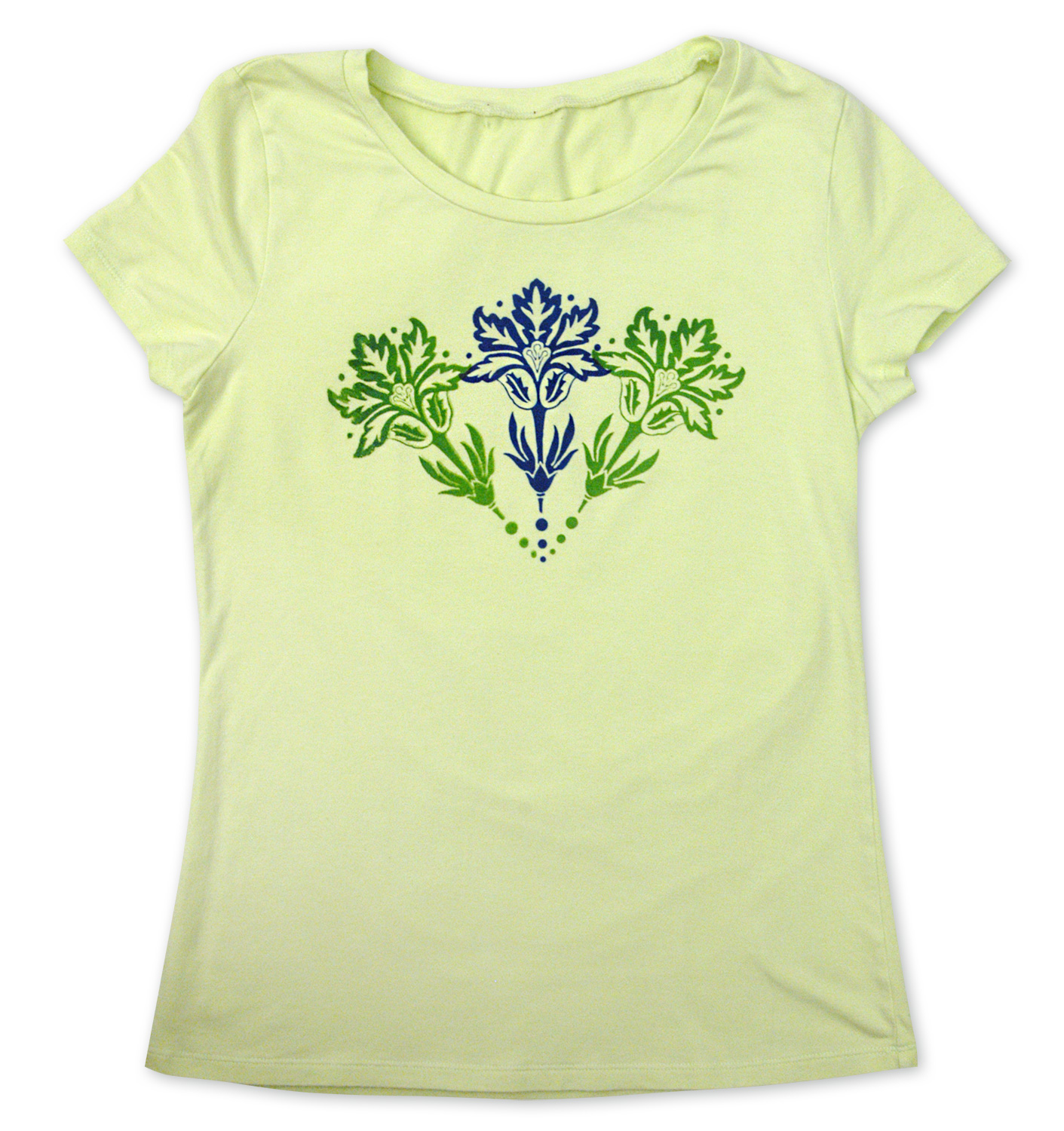 Semi-opaque colors on light t-shirt