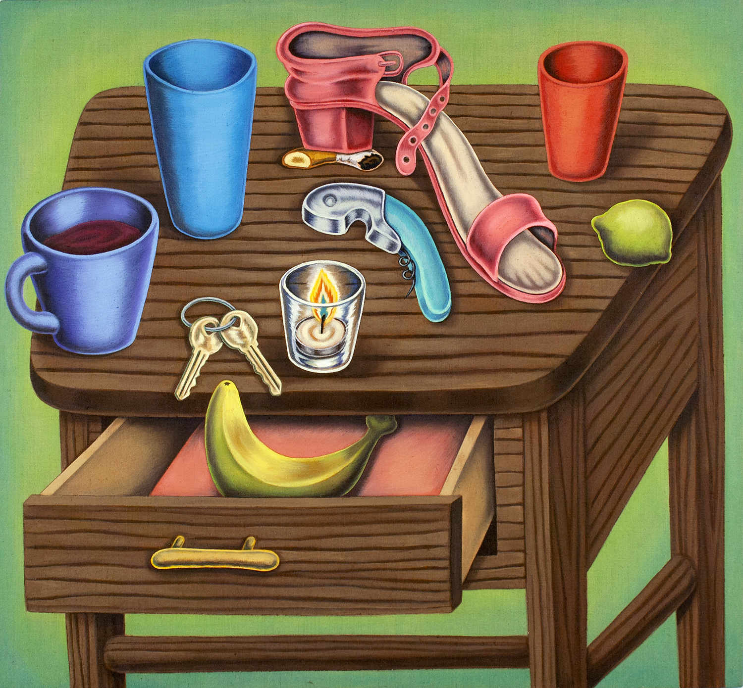 """Night Stand with Extra Cups""#31""x29"""