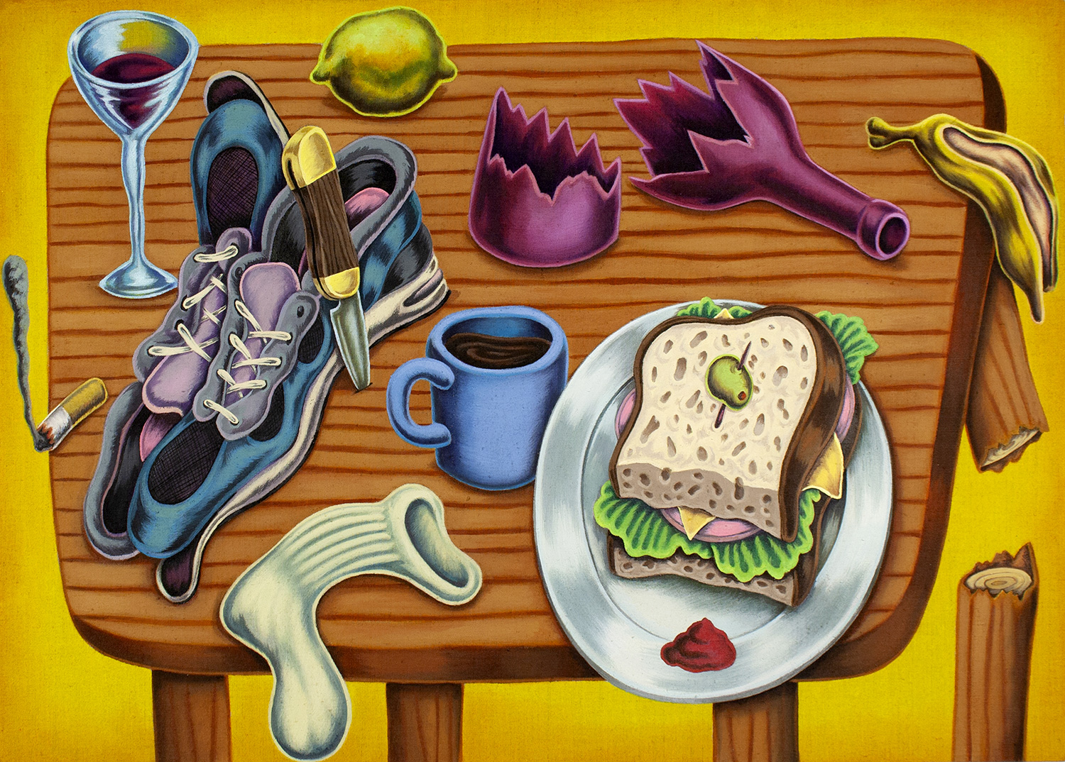 """Sandwich, Sneakers and Other Lost or Discarded Objects""#32""x23"""