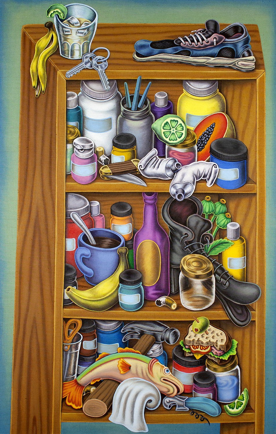 """Collected Objects on Shelves""#28""x44"""