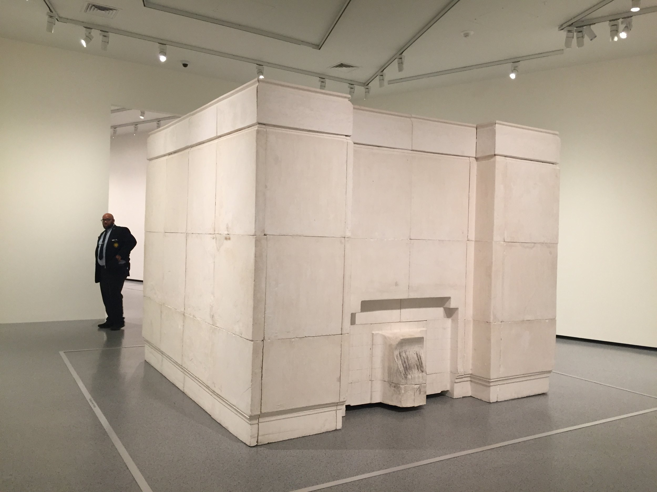 """Rachel Whiteread's sculpture   Ghost     (1990). Considered the artist's breakthrough work,  Ghost  is a plaster cast of the entire interior of a room in a North London Victorian home"" ( NGA website ). Security guard for scale; it's huge!"