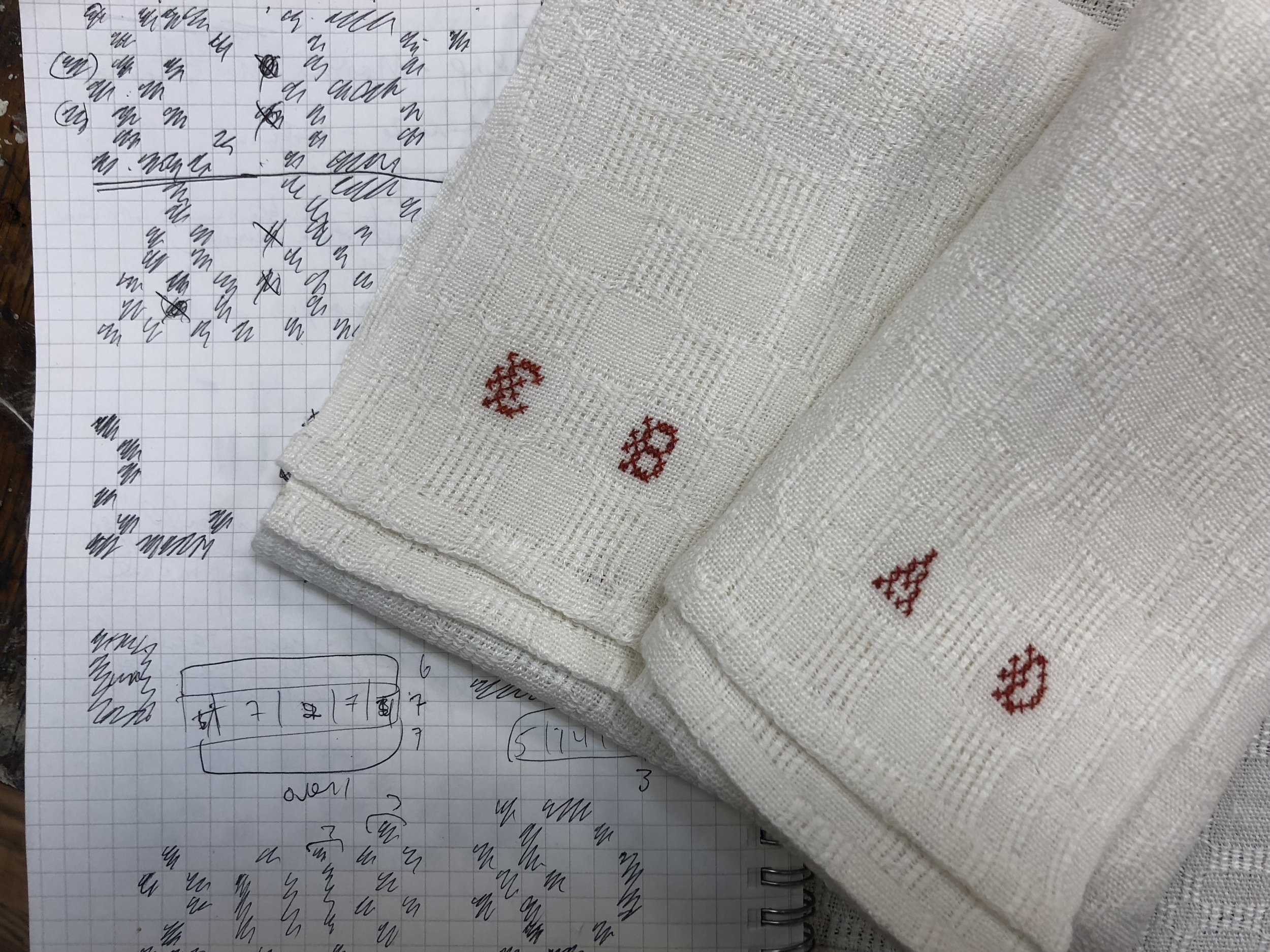 """Monogrammed M's and O's towel, 2018. Linen and overdyed cotton floss. 16 1/2"""" x 26""""."""