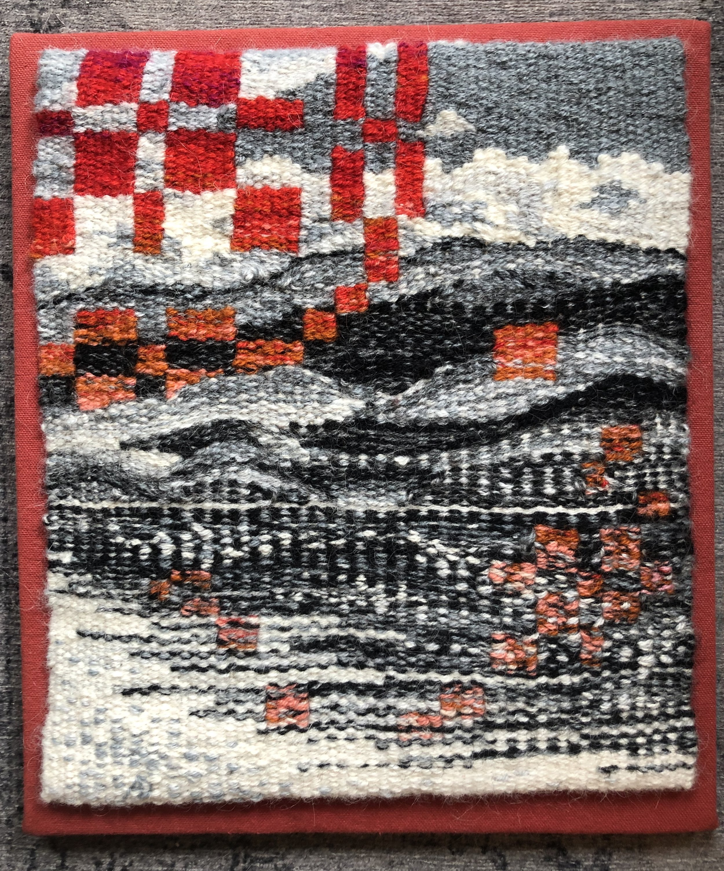 """Roses, 2019. Cotton warp and wool weft. 10.5"""" x 13""""."""