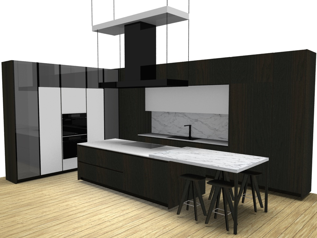 Design rendering of Poliform showroom kitchen