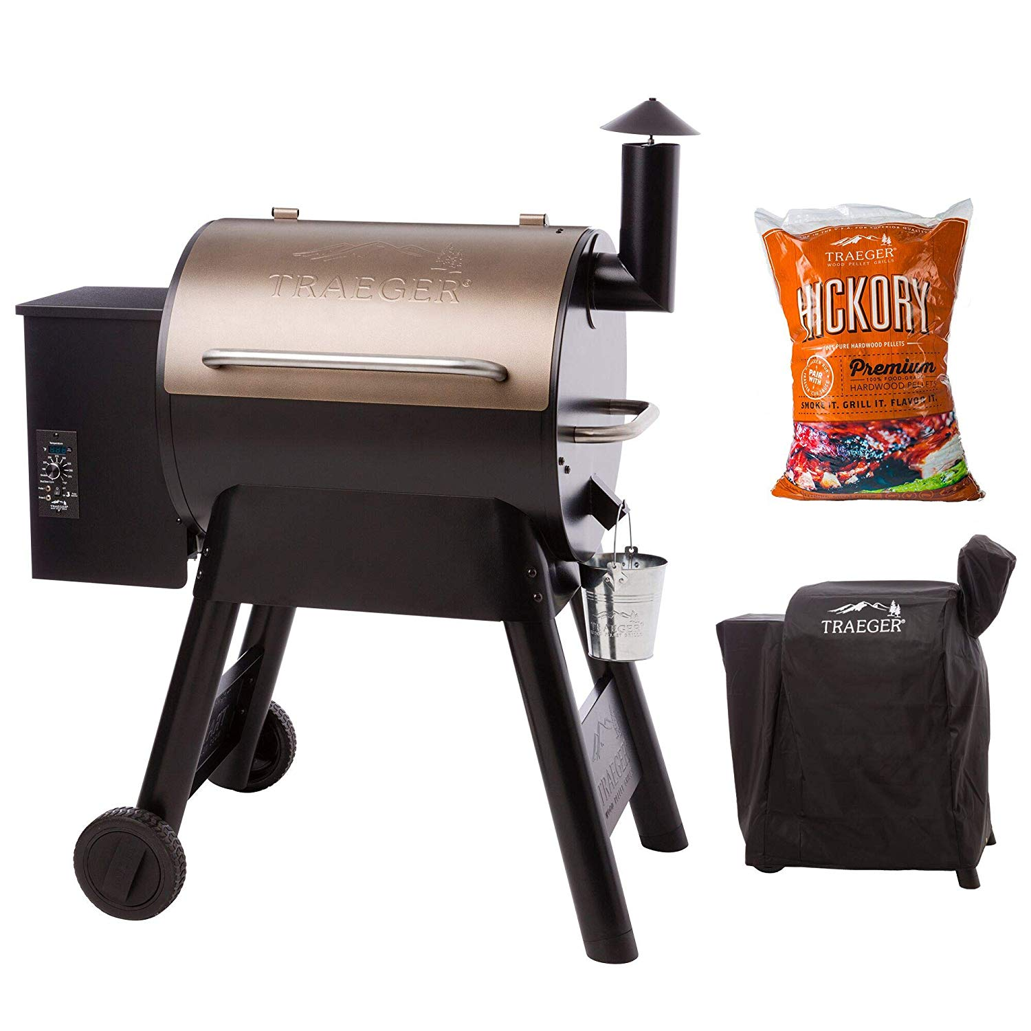 Traeger Pro 22 Series Pellet Grill and Smoker w/ Cover and Pellets