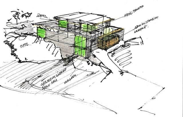 Skisser og Plantegninger - Prosjektet omfattet riving av store deler av eksisterende bygningsmasse. Underetasje med svømmehall ble rehabilitert mens 1. og 2.etasje var nybygg. Rehabiliteringen omfattet ca. 355m2, mens nybygg ca. 1636m2.