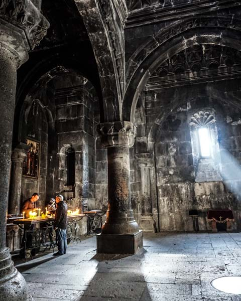 20 minutes or so outside of Yerevan, Geghard Monastery feels otherworldly. We went on a Sunday during service, and the singing sounded otherworldly, too. In front of the monastery, women sell gata, a kind of bread-like sweet that can be baked in a tonir.