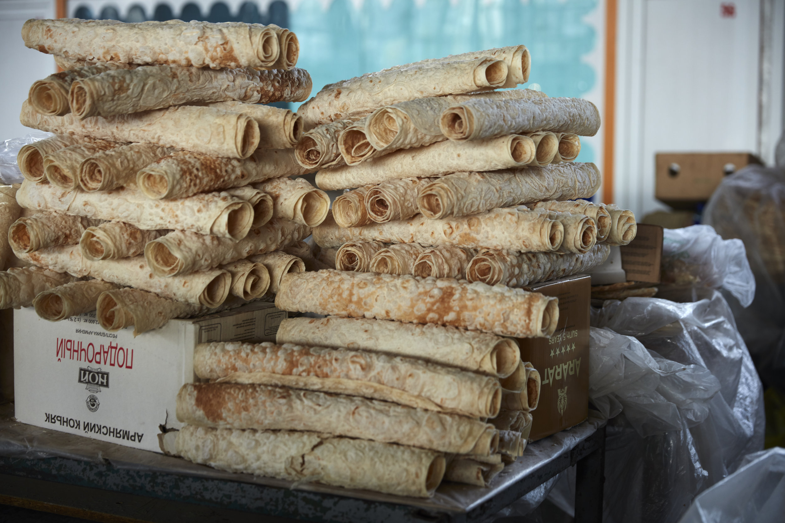 In the fall and winter, GUM market also sells lavash that has been rolled and dried to crumble into bowls of  khash , a rich bone broth.
