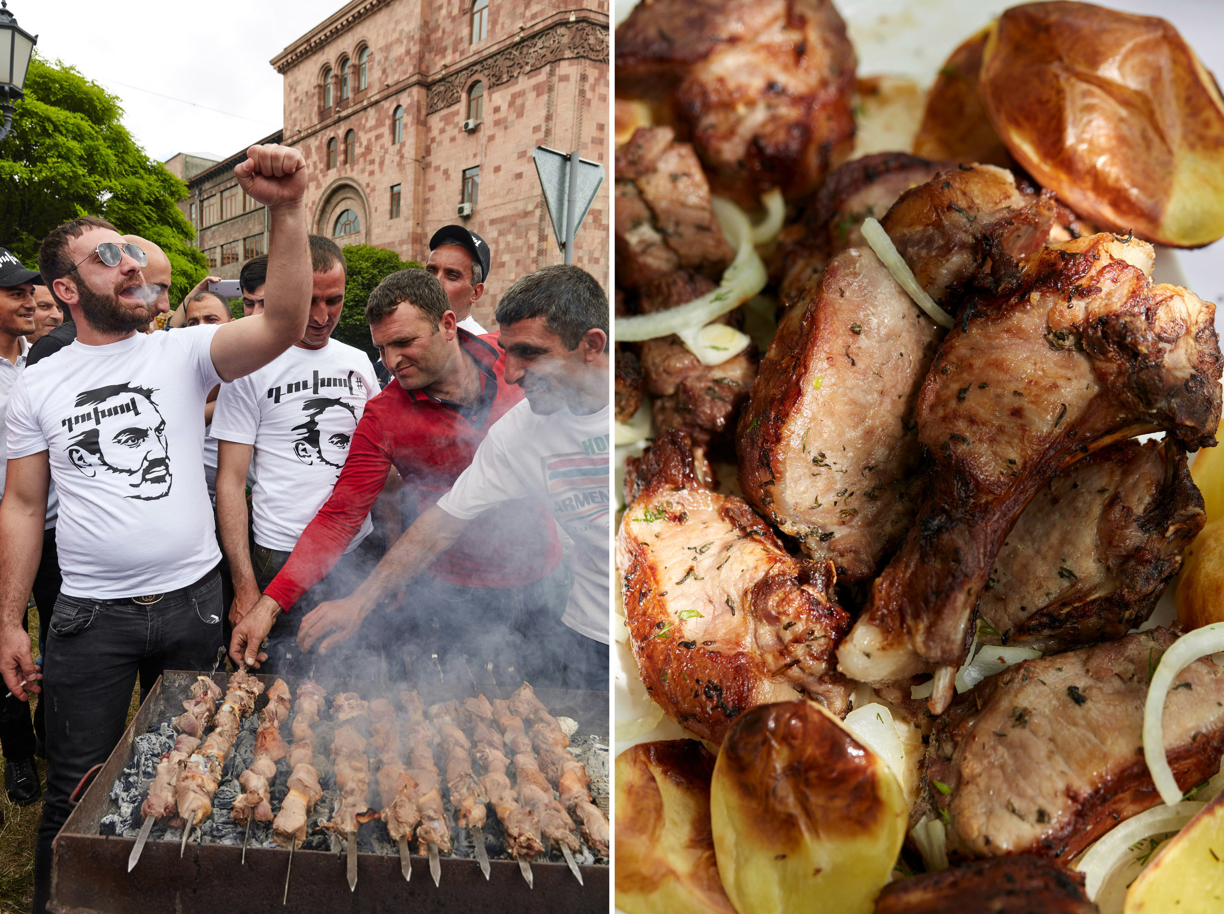 Skewers of meat on a mangal as revelers celebrate Nikol Pashinyan's election victory, left, and Qefilyan's pork khorovats, right.