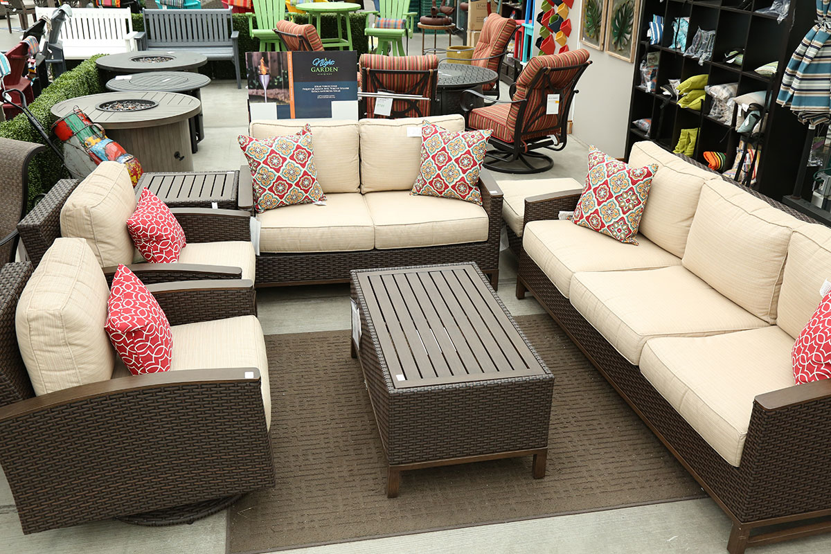 SPECIAL PRICING ON SELECT PATIO FURNITURE - Including our all weather wicker La Lima set with faux wood accents!