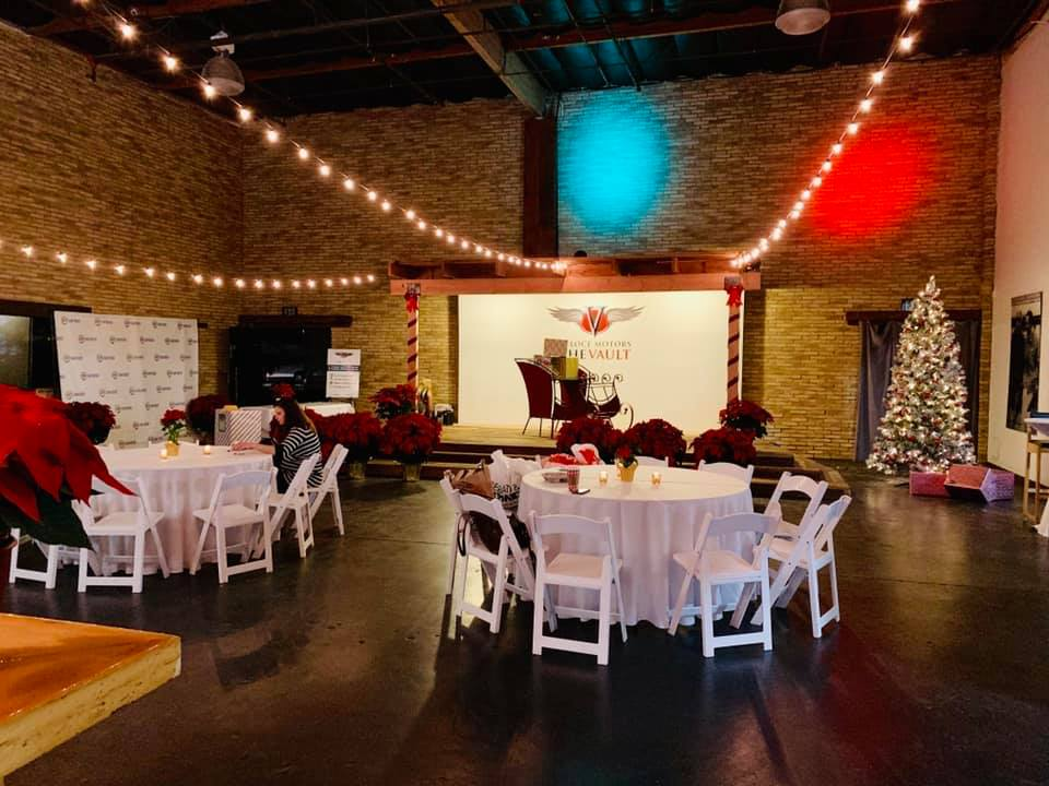 Main Event Space Decorated for the Holidays