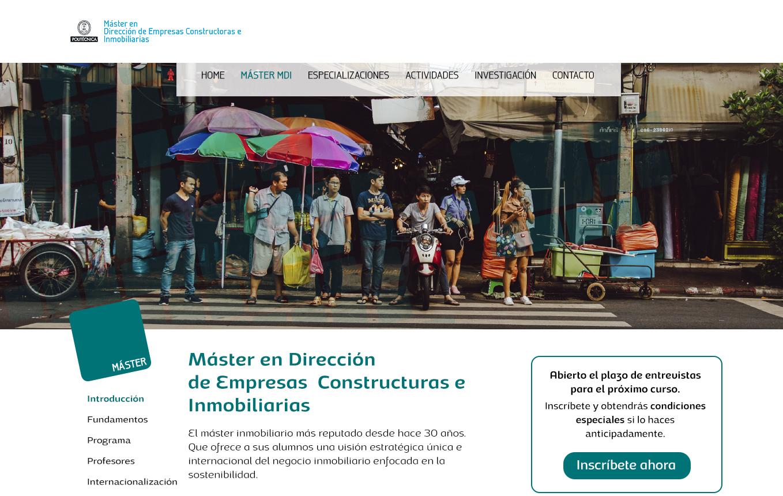 Diseño y concepto de la página web www.mastermdi.com
