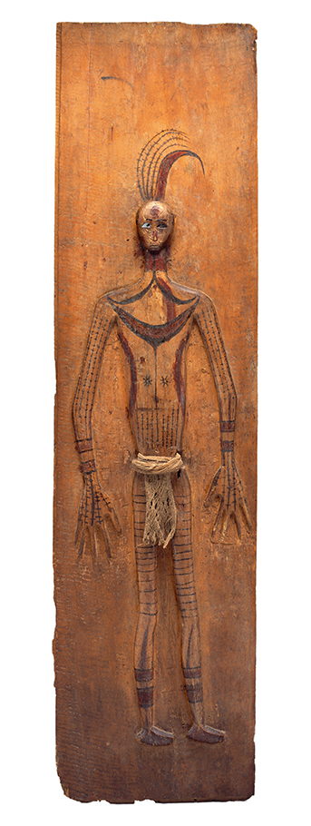 Memorial Wall Panel with Wooden Figure of a Slain Headhunting Victim |  Simoinang Tulangan Sirimanua  © The Dallas Museum of Art | Texas, USA