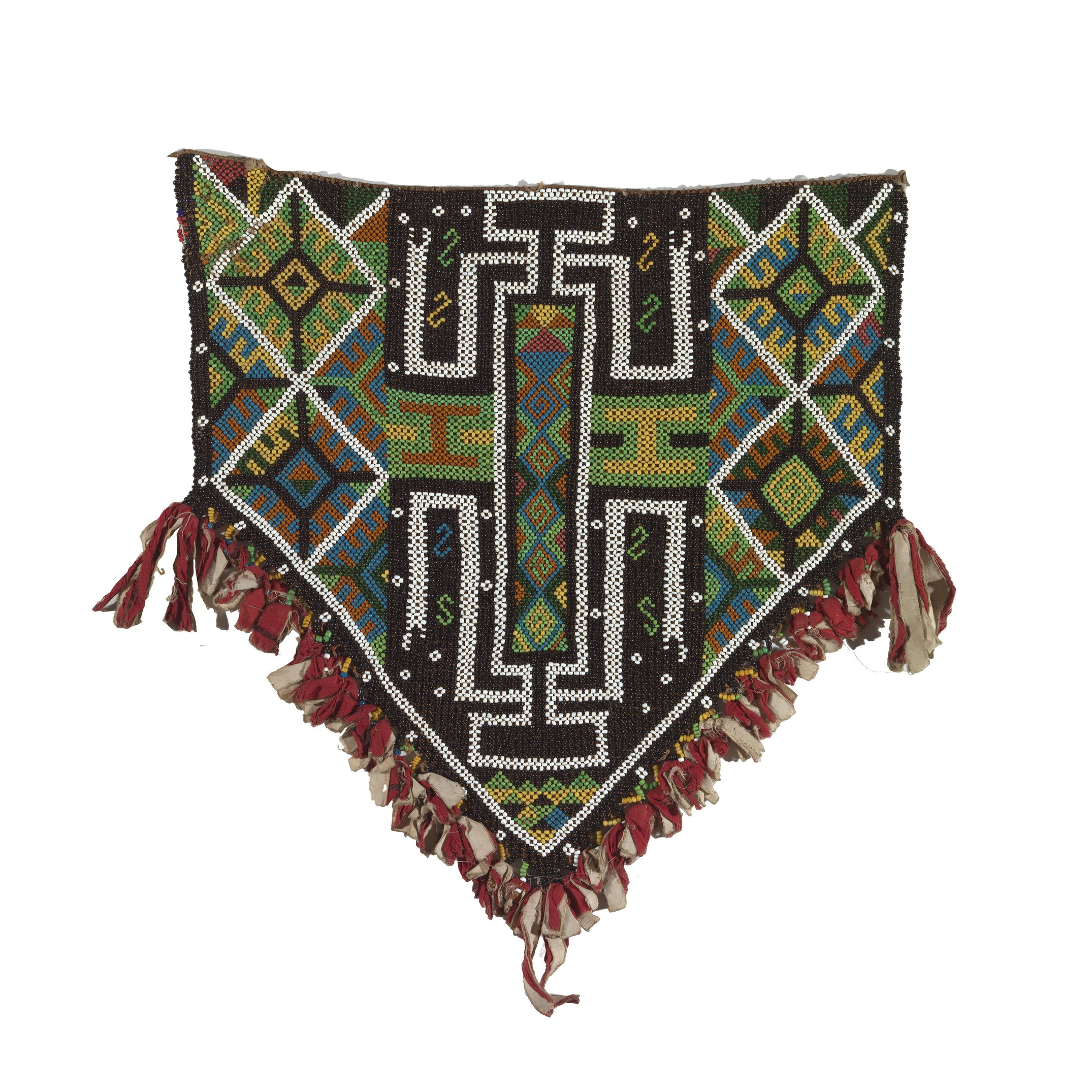 Woman's Dance Apron Early 20th Century | Doreri District, West Papua, Indonesia Beads, Fibre Thread, Commercial Cotton Cloth, Bead-Work 52.0 (h) x 58.0 (w) cm Purchased 1986 National Gallery of Australia | 1986.2456