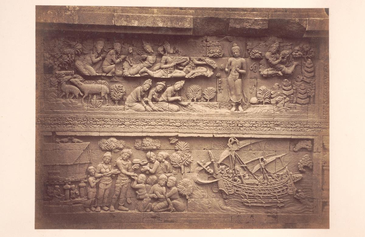 9th Century Stone Relief from Borobudur Stupa | Central Java Image by Isidore Van Kinsbergen circa 1900.