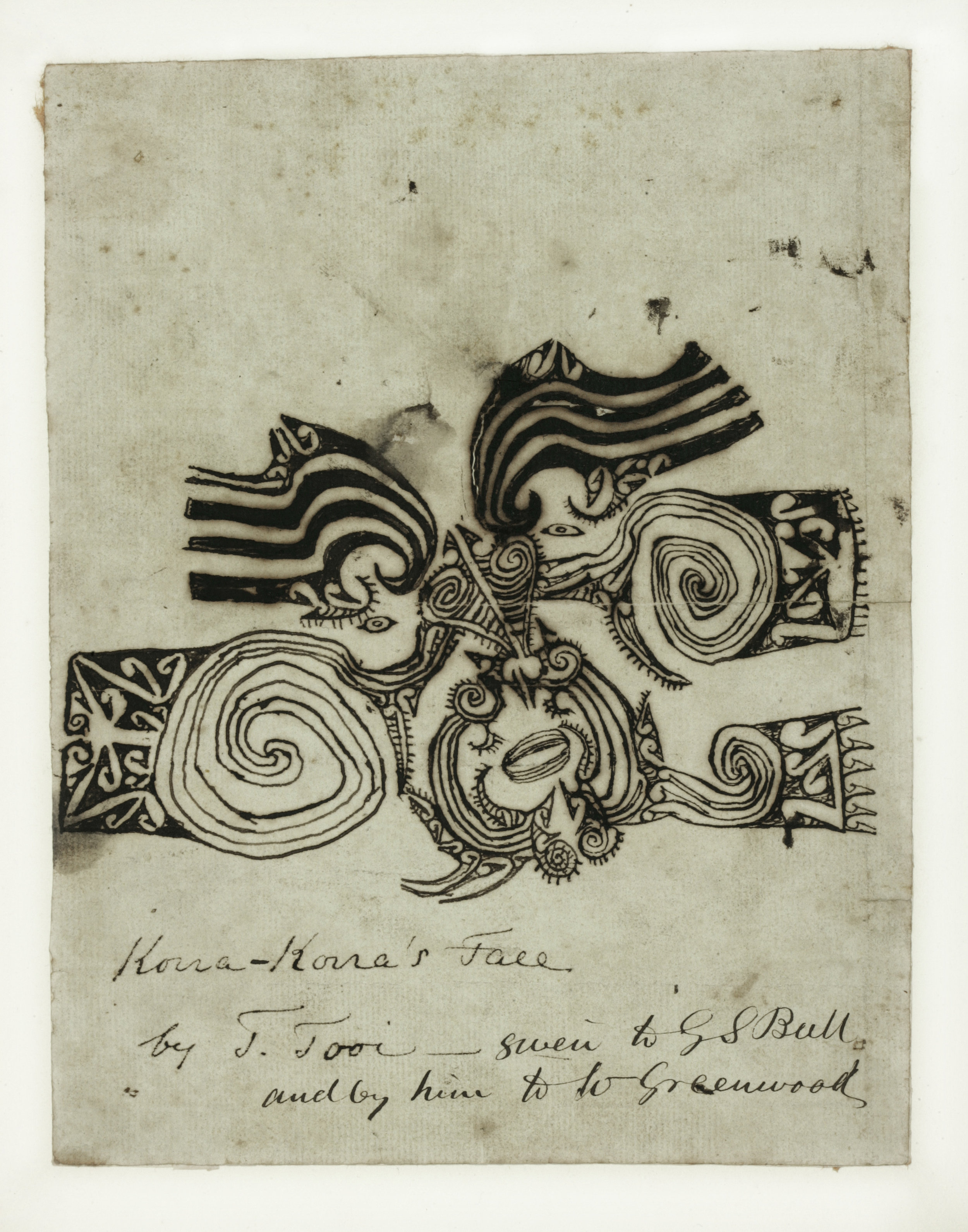 Tooi [Tuai], Drawing of Korokoro's moko, 1818. Paper, 30 x 50 cm. Sir George Grey Special Collections, Auckland Libraries. (PHOTO: Royal Academy of Arts & Auckland Libraries)