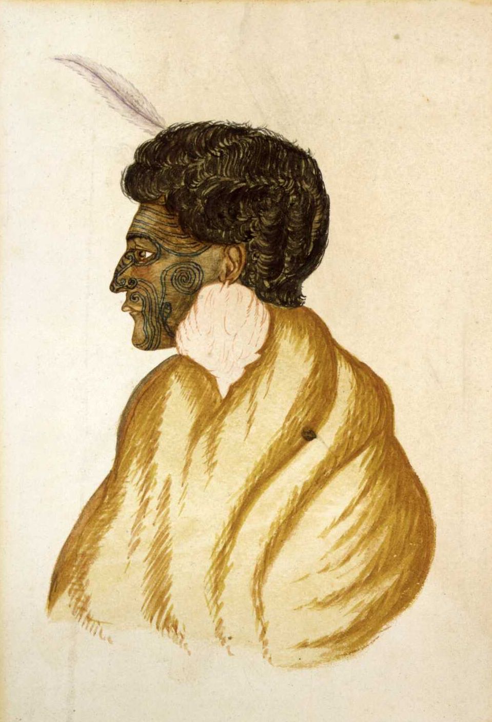 Te Raparaha, chief of the Kawias. Watercolor by R. Hall circa 1840s.