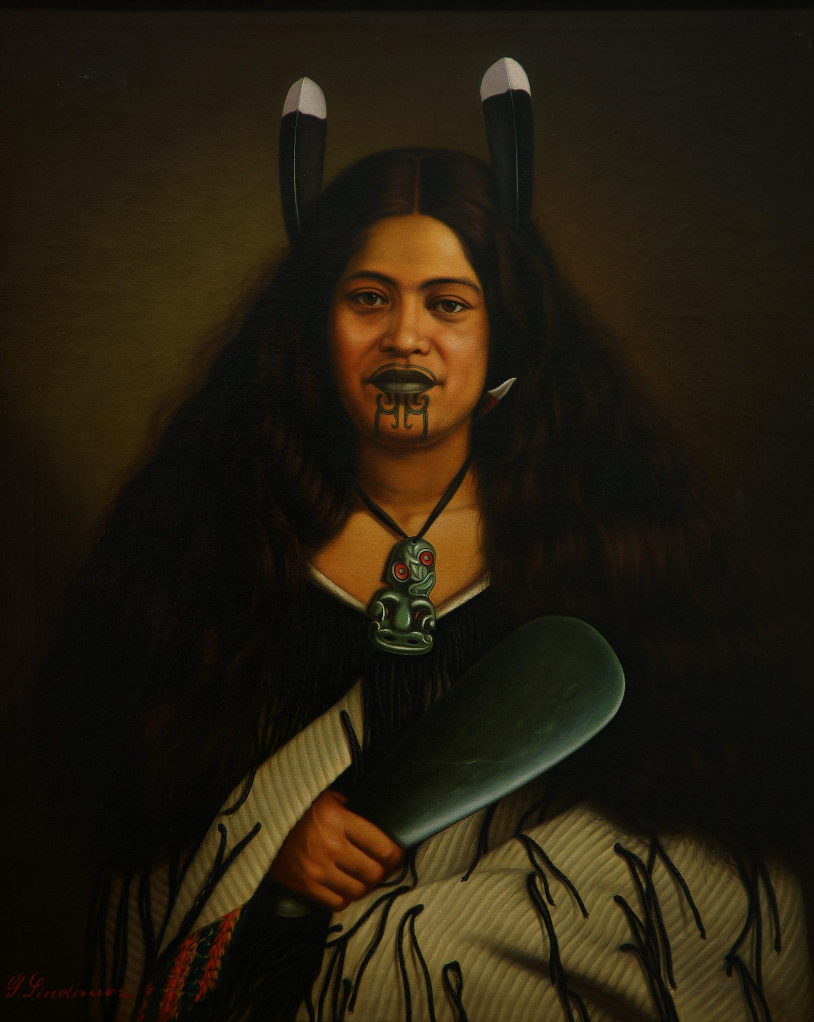Gottfried Lindauer, 'Pare Watene,' 1878. Oil on canvas. Auckland Art Gallery Toi o Tāmaki