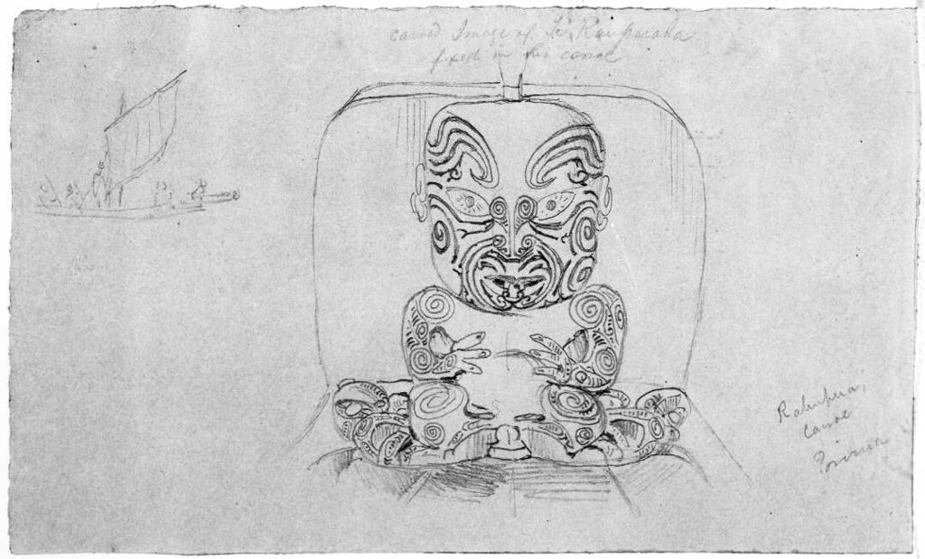 Carved image of Te Rauparaha fixed in his canoe. Pencil drawing by George French Angas. 1844. Alexander Turnbull Library, Wellington. A-020-008.