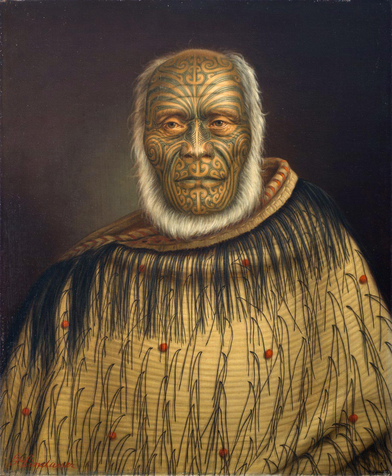Gottfried Lindauer. Portrait of Ihaka Whanga. 1870. Oil on canvas. Auckland Art Gallery