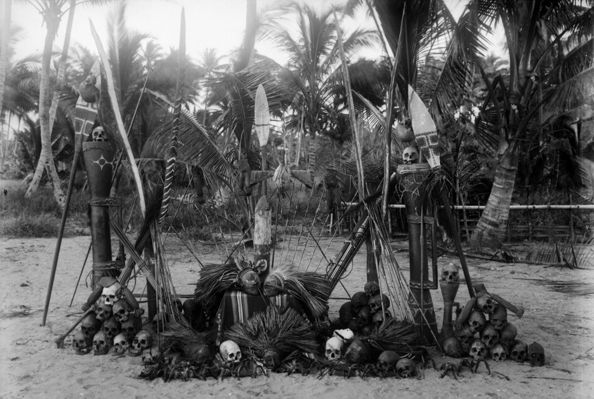 A Collection of Objects Including Trophy Skulls of the Marind Anim People | 1913 | West Papua © Nationaal Museum van Wereldculturen | The Netherlands