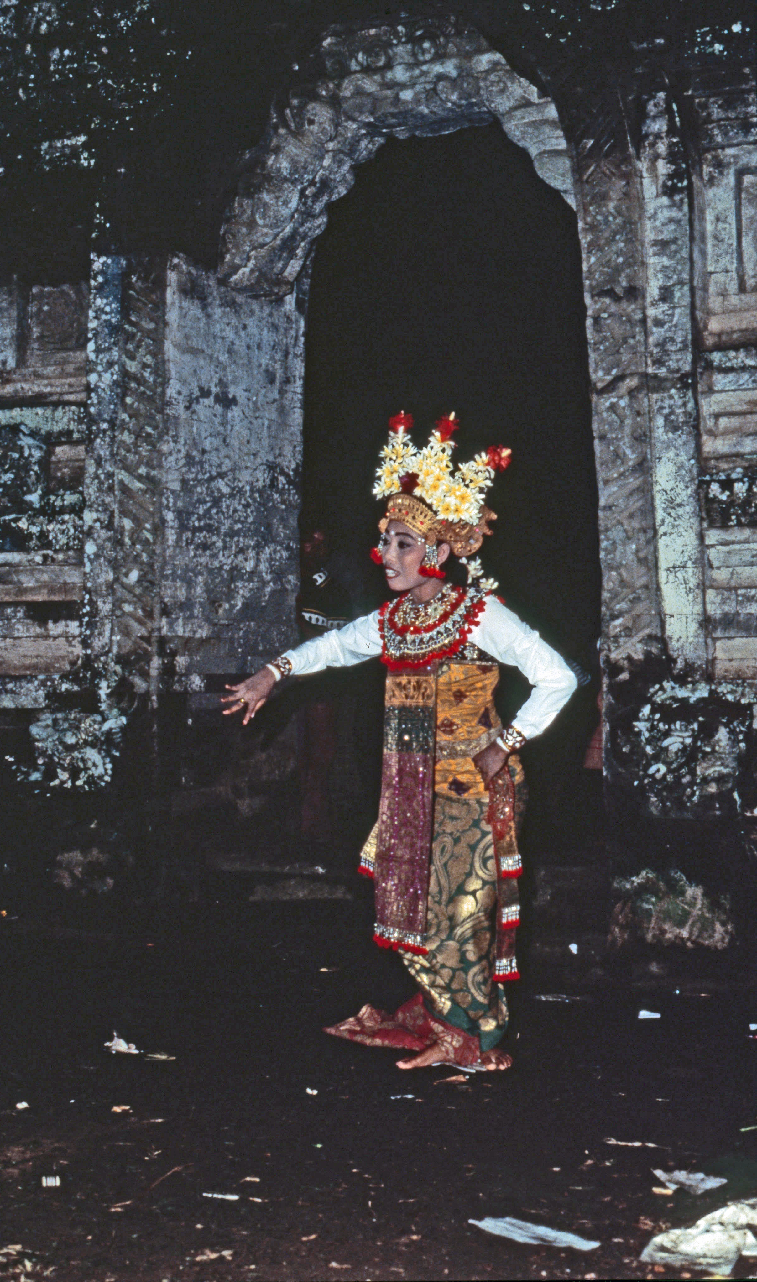 A dance of heavenly nymphs preceding the appearance of Rangda and Barong. Dance, theatre and ritual are fused in the Balinese adaptation of Hindu culture. Country of Origin: Indonesia. Culture: Balinese. Date/Period: 1980s. Place of Origin: Bali. Credit Line: Werner Forman Archive.