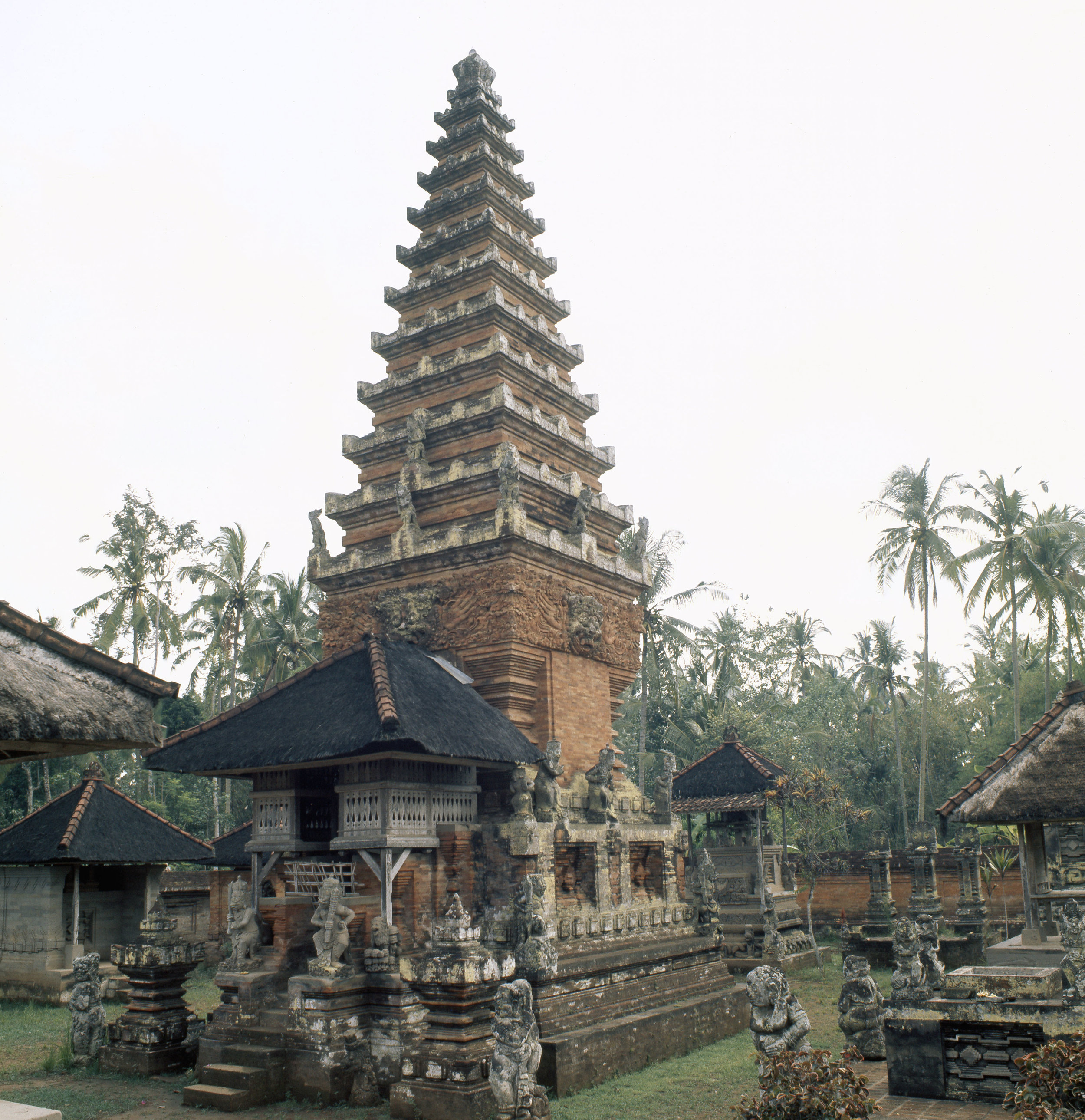 The tiered structure of Balinese Hindu shrines reproduces the three levels of the cosmos: the under-world, the world of humanity and the towering celestial mountain of the gods. Country of Origin: Indonesia. Culture: Balinese/Hindu. Place of Origin: Bali. Credit Line: Werner Forman Archive.
